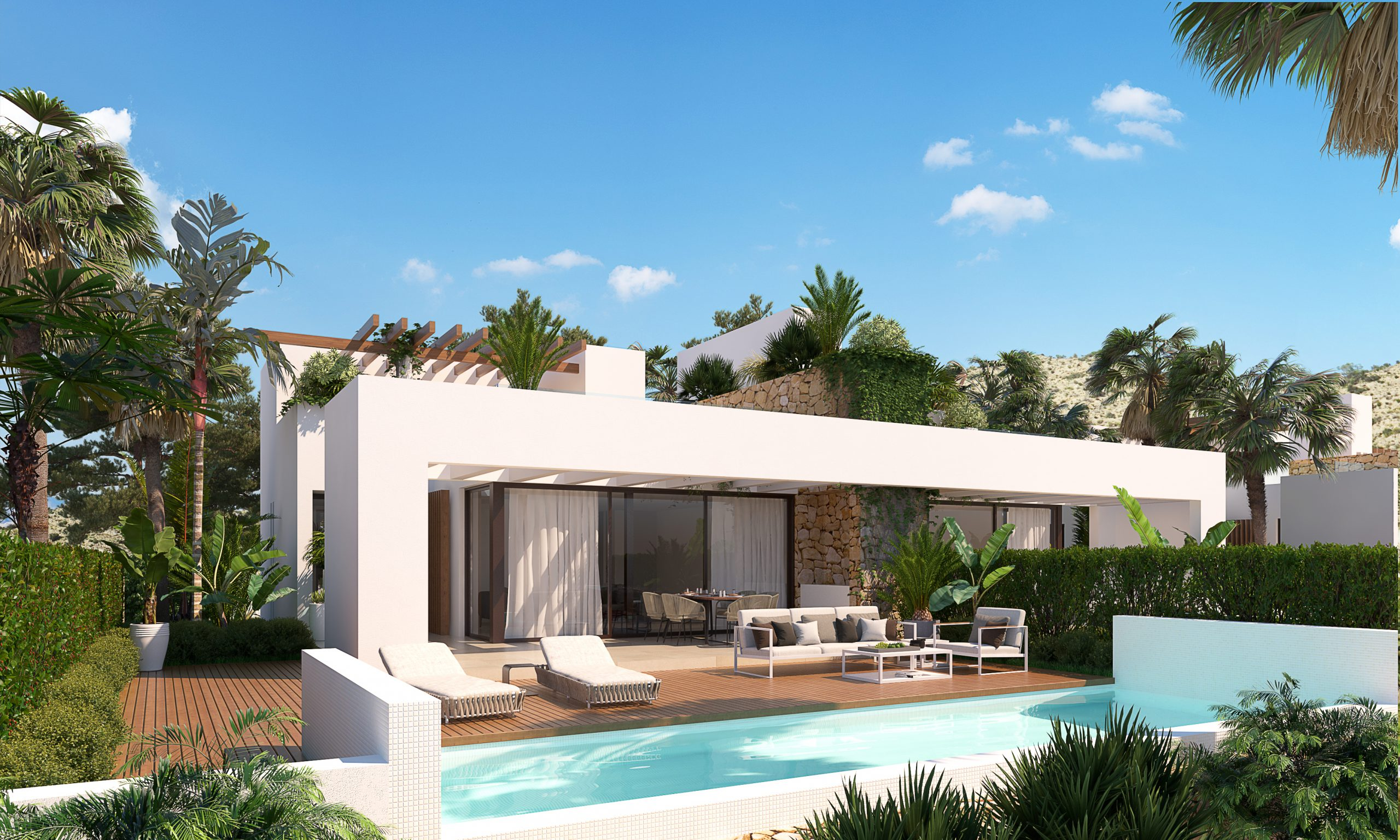 3 bedroom villas with private pool in Font de Llop (Aspe) 20 minutes from Alicante airport
