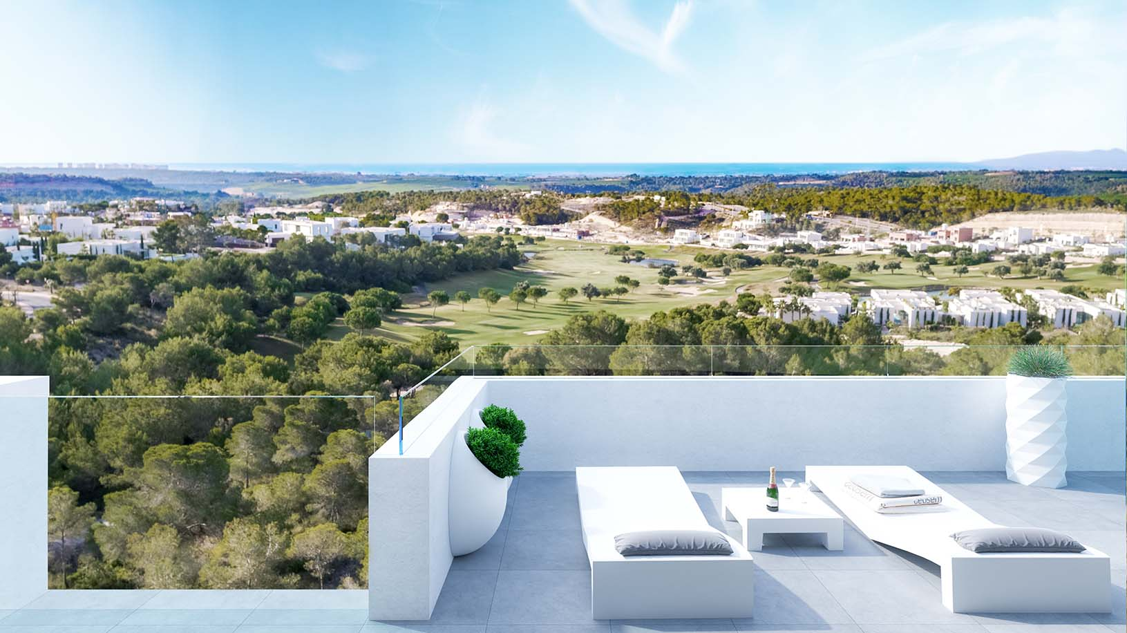 Luxury apartments with golf and sea views in Las Colinas Golf Resort